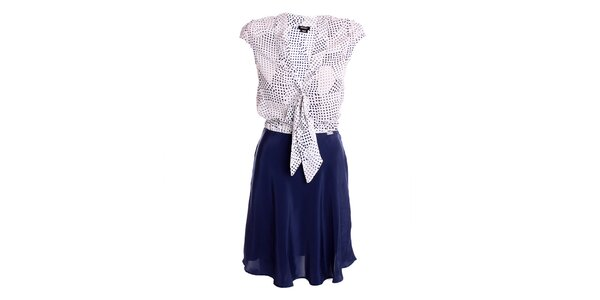 Dámské modro-bílé šaty s vázačkou Miss Sixty