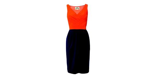 Dámské oranžovo-modré pouzdrové šaty Fever
