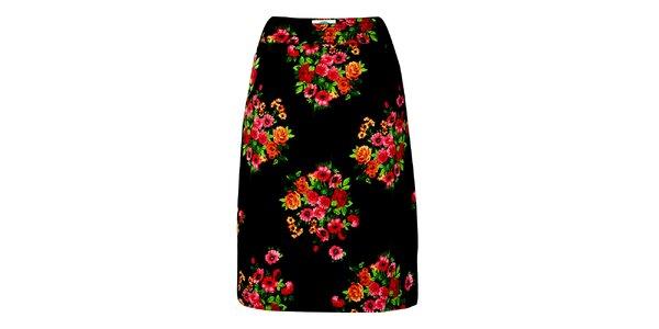 Dámská černá sukně s květinovým potiskem Fever
