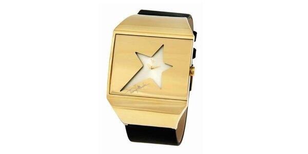 Dámské ocelové zlaté hodinky s hvězdou v ciferníku Thierry Mugler