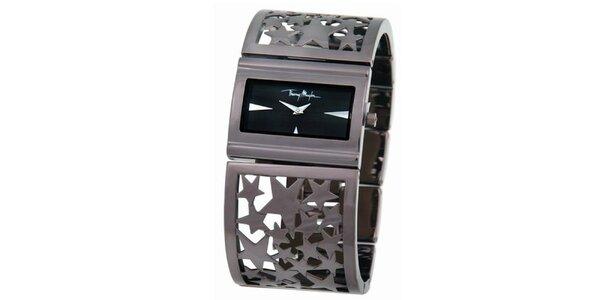 Dámské stříbrné ocelové náramkové hodinky s hvězdičkami Thierry Mugler