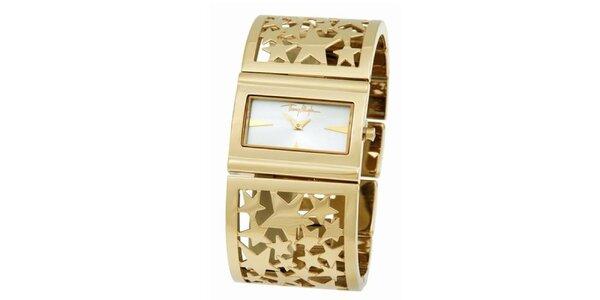 Dámské zlaté ocelové náramkové hodinky s hvězdičkami Thierry Mugler