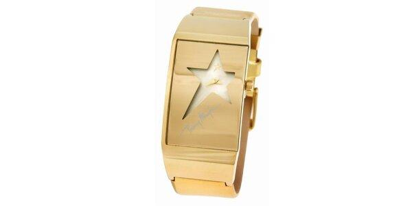 Dámské zlaté ocelové hodinky Thierry Mugler s ciferníkem ve tvaru hvězdy