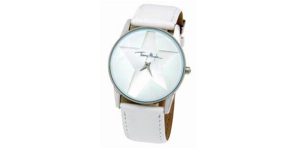 Dámské bílé ocelové hodinky s koženým řemínkem Thierry Mugler