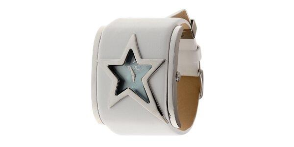 Dámské ocelové hodinky Thierry Mugler s bílým koženým řemínkem