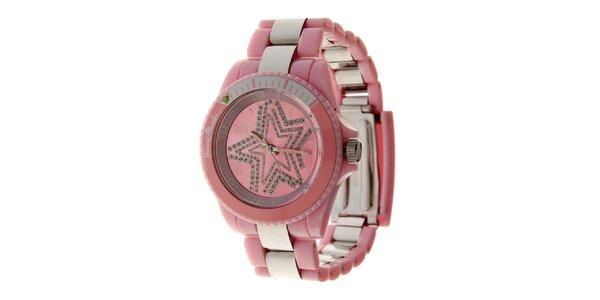 Dámské růžové hodinky Thierry Mugler se stříbrnými detaily a kamínky