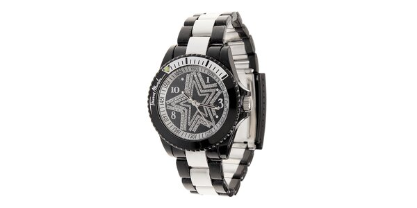 Dámské černé hodinky Thierry Mugler se stříbrnými detaily a kamínky