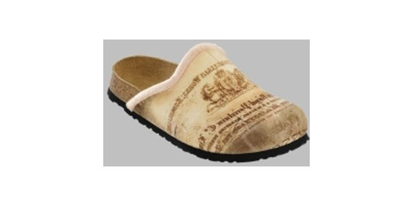 Béžové vintage pantofle Papillio