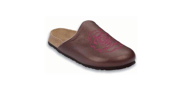 Dámské fialové metalické pantofle s kulatou špičkou Papillio