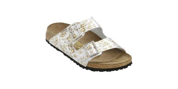 Dámské stříbrné pantofle se zlatými květinami Papillio