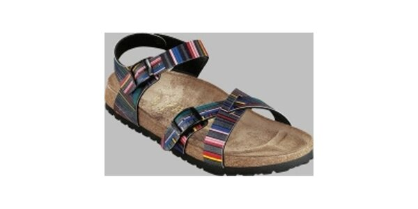 Dámské barevné pruhované sandále Papillio