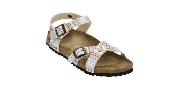 Dámské pastelové pruhované sandále Papillio