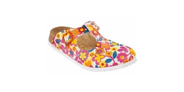 Dámské bílé pantofle s květinami Papillio