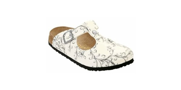 Dámské bílé pantofle s šedými květinami Papillio
