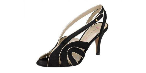 Dámské černé semišové sandále Paul & Joe se zlatým lemem
