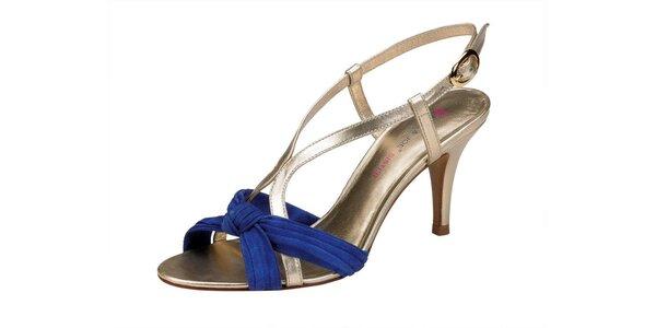Dámské modro-zlaté sandále Paul & Joe Sister na vysokém podpatku