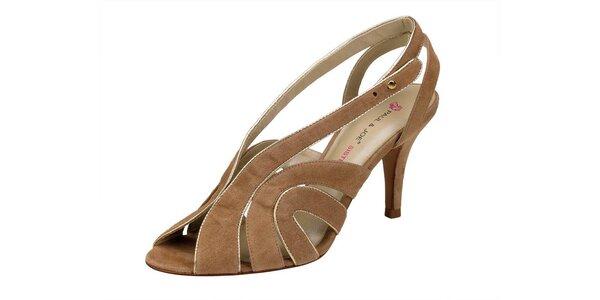 Dámské béžové semišové sandále Paul & Joe se zlatým lemem
