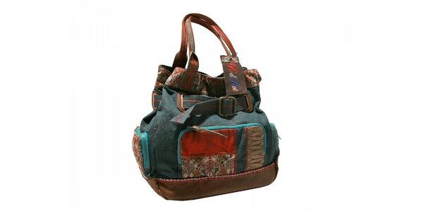 Stylová kabelka s tmavou džínovinou Red Hot