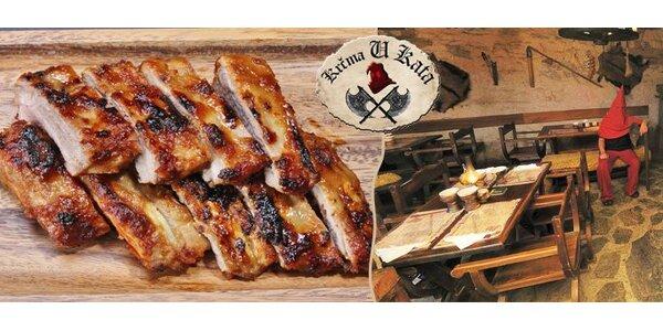 249 Kč za DVĚ porce grilovaných vepřových žeber v medové omáčce u Kata!