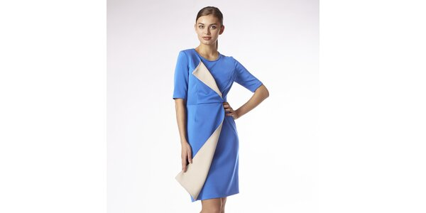 Dámské blankytně modré zavinovací šaty s béžovým lemem Emploi