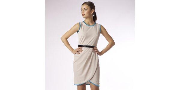 Dámské béžové zavinovací šaty s tyrkysovým lemem Emploi
