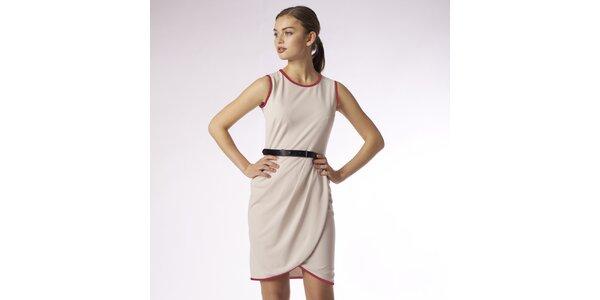 Dámské béžové zavinovací šaty s červeným lemem Emploi
