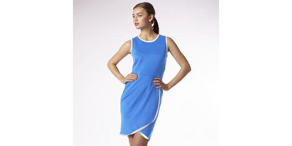 Dámské modré zavinovací šaty s bílým lemem Emploi