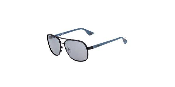 Pánské černé sluneční brýle s modrými stranicemi Diesel