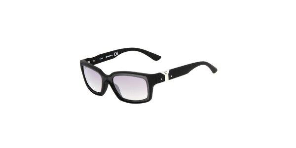 Černé hranaté unisex sluneční brýle Diesel