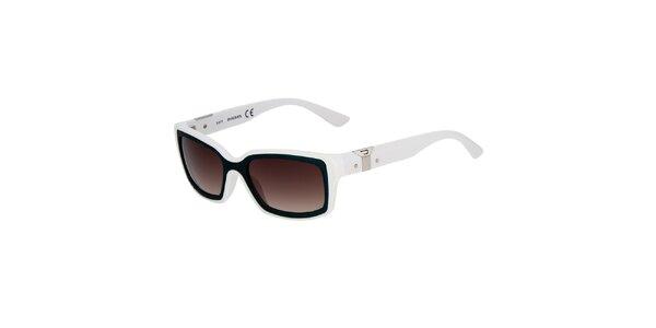 Bílé hranaté unisex sluneční brýle Diesel