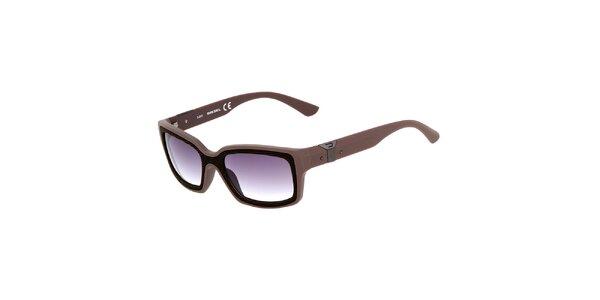 Hnědé hranaté unisex sluneční brýle Diesel