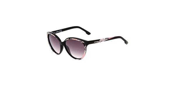 Dámské černé sluneční brýle s růžovým potiskem Diesel
