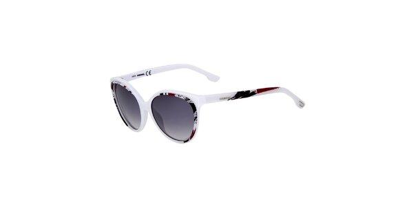 Dámské bílé sluneční brýle Diesel s barevným potiskem