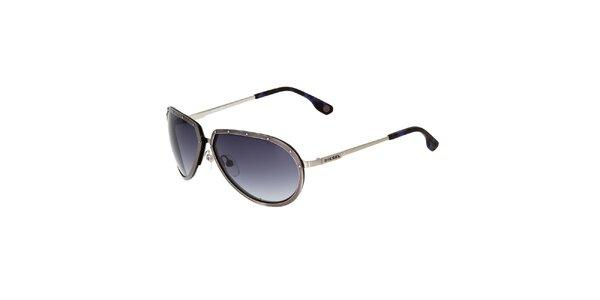 Dámské kovově šedé sluneční brýle Diesel