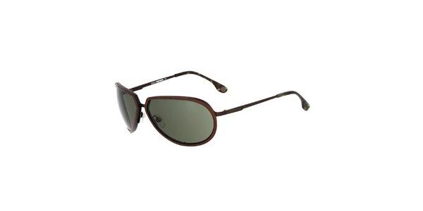 Dámské hnědé sluneční brýle Diesel se zelenými skly