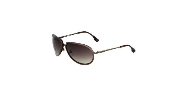 Dámské kovově hnědé sluneční brýle Diesel