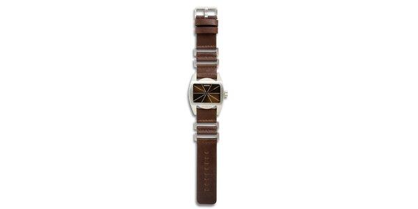 Dámské ocelové hodinky s hnědým koženým řemínkem 666 Barcelona