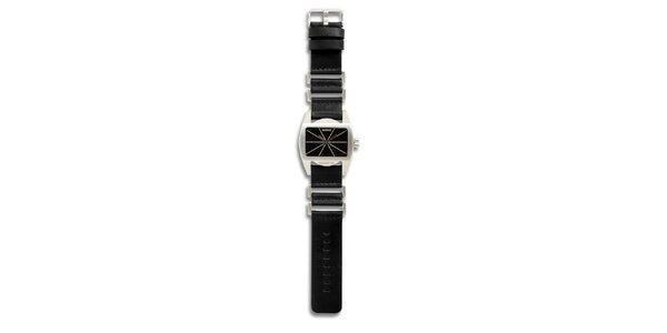 Dámské ocelové hodinky s černým koženým řemínkem 666 Barcelona