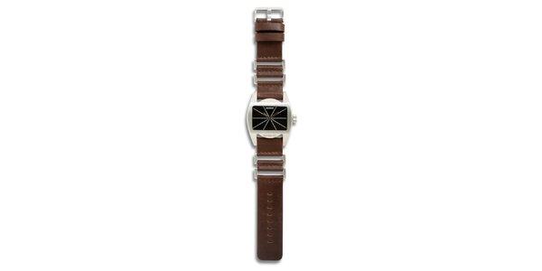 Dámské ocelové hodinky s hnědým koženým řemínkem a černým ciferníkem 666…