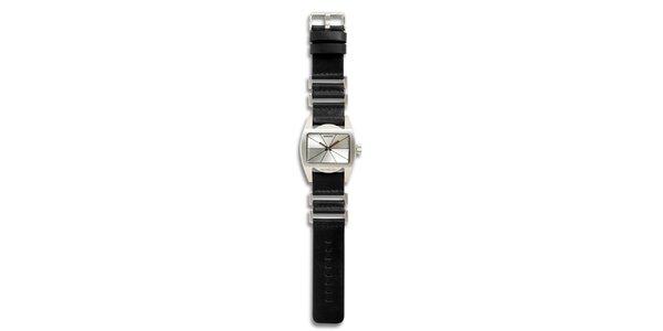 Dámské ocelové hodinky s černým koženým řemínkem a stříbrným ciferníkem 666…