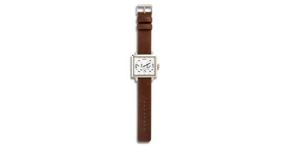 Dámské ocelové hodinky s hnědým koženým řemínkem a bílým analogovým ciferníkem…