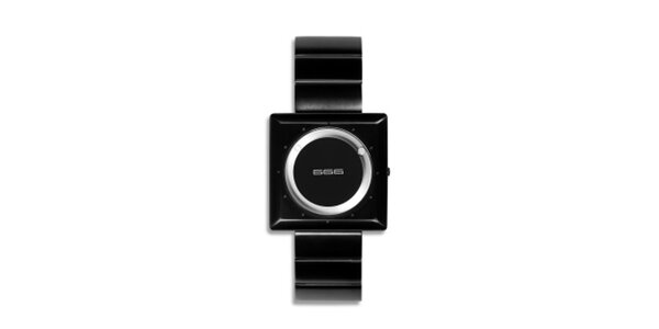 Černé analogové hodinky se stříbrným ciferníkem 666 Barcelona