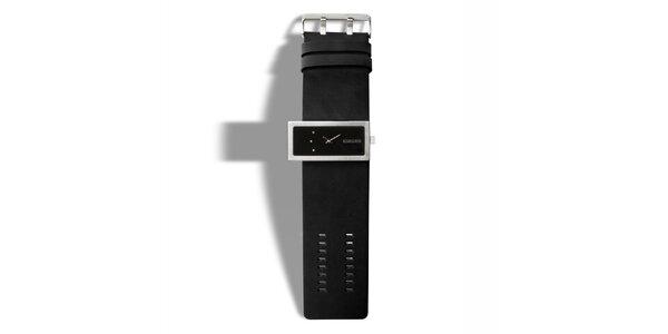 Černé analogové hodinky se třemi kamínky 666 Barcelona