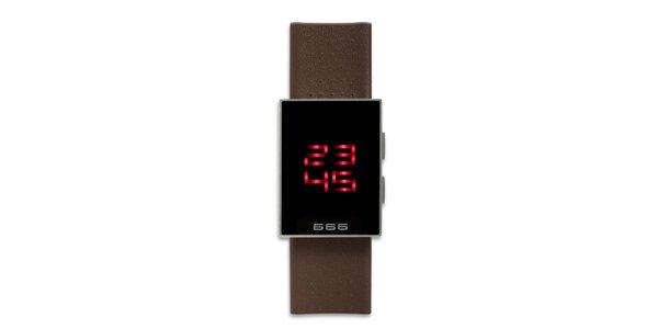 Černé hranaté digiální hodinky 666 Barcelona s hnědým řemínkem