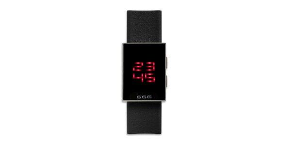 Černé hranaté digiální hodinky 666 Barcelona