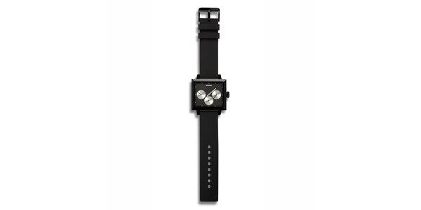 Futuristické černé hodinky se stříbrnými zónami 666 Barcelona