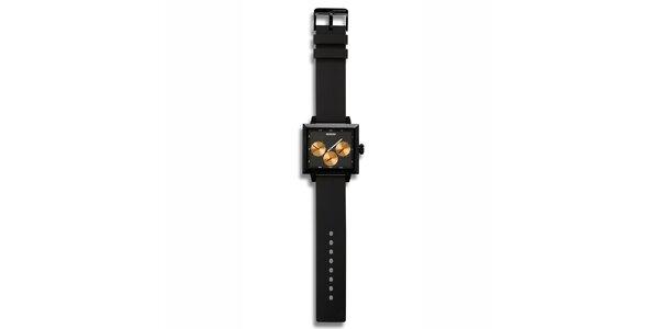 Futuristické černé hodinky s oranžovými zónami 666 Barcelona