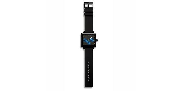 Futuristické černé čtvercové hodinky 666 Barcelona