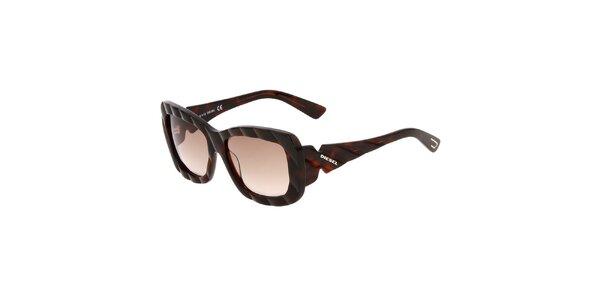 Hnědé unisex sluneční brýle Diesel