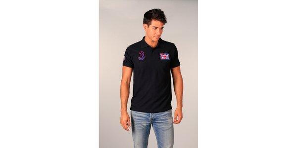 Pánské tmavě modré polo tričko s britskou vlajkou od TH